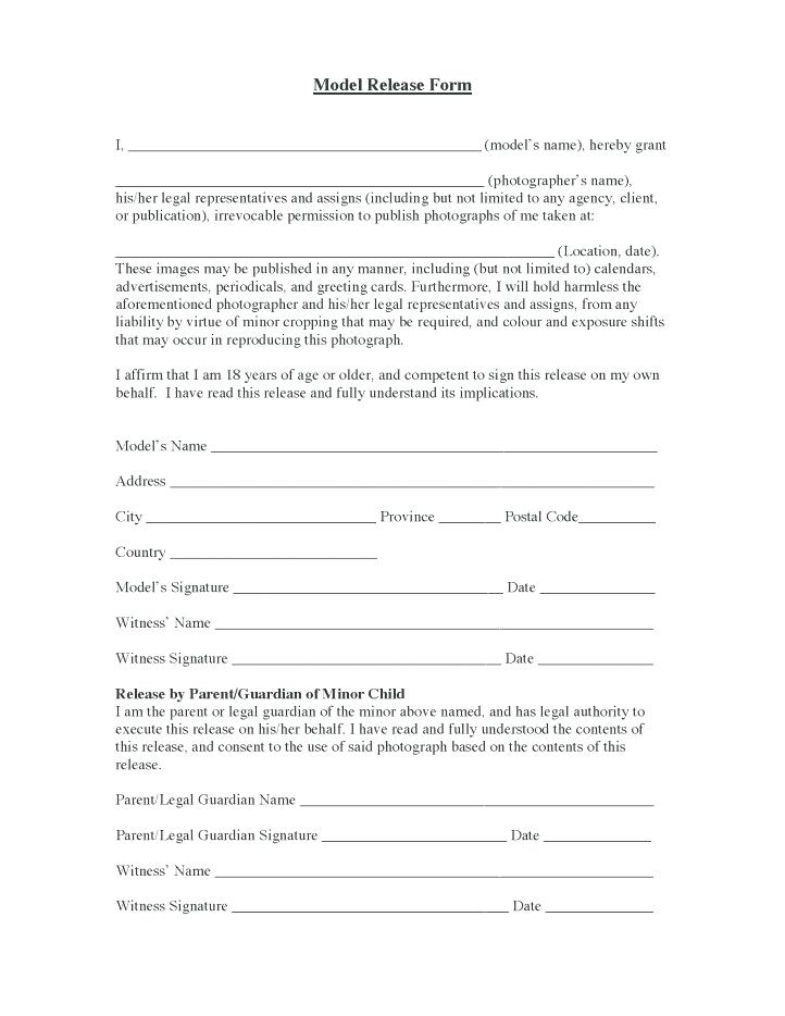 Digital Photo Model Release Form