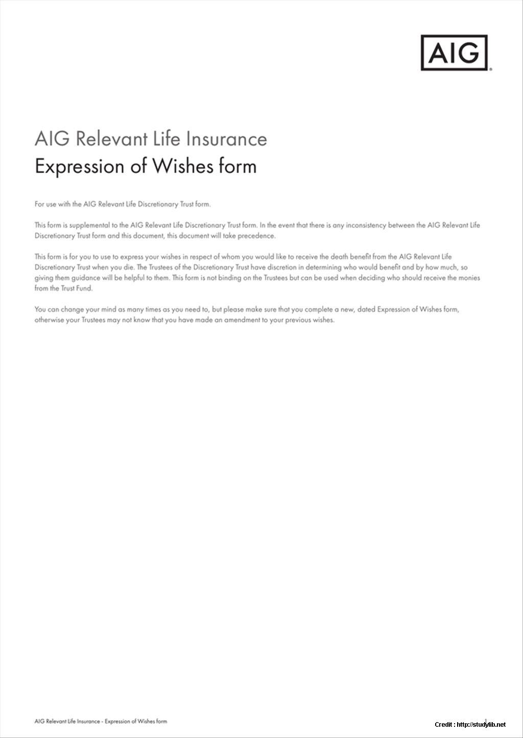 Discretionary Trust Form Aig