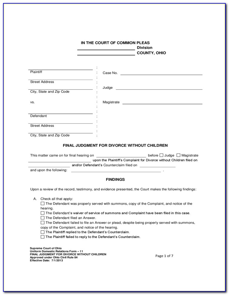 Divorce Forms Lorain County Ohio