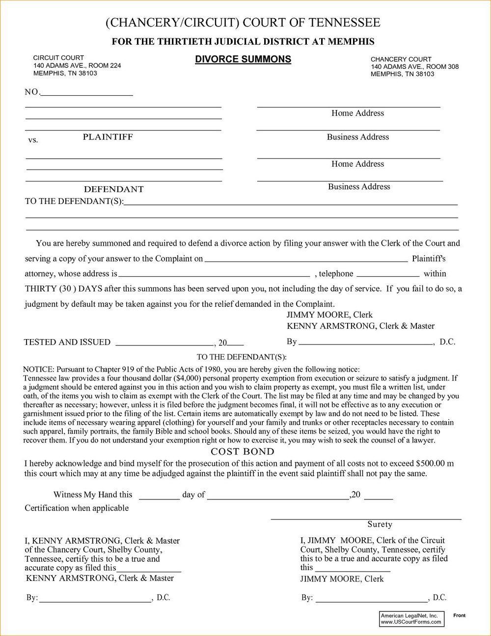 Divorce Forms Memphis Tn