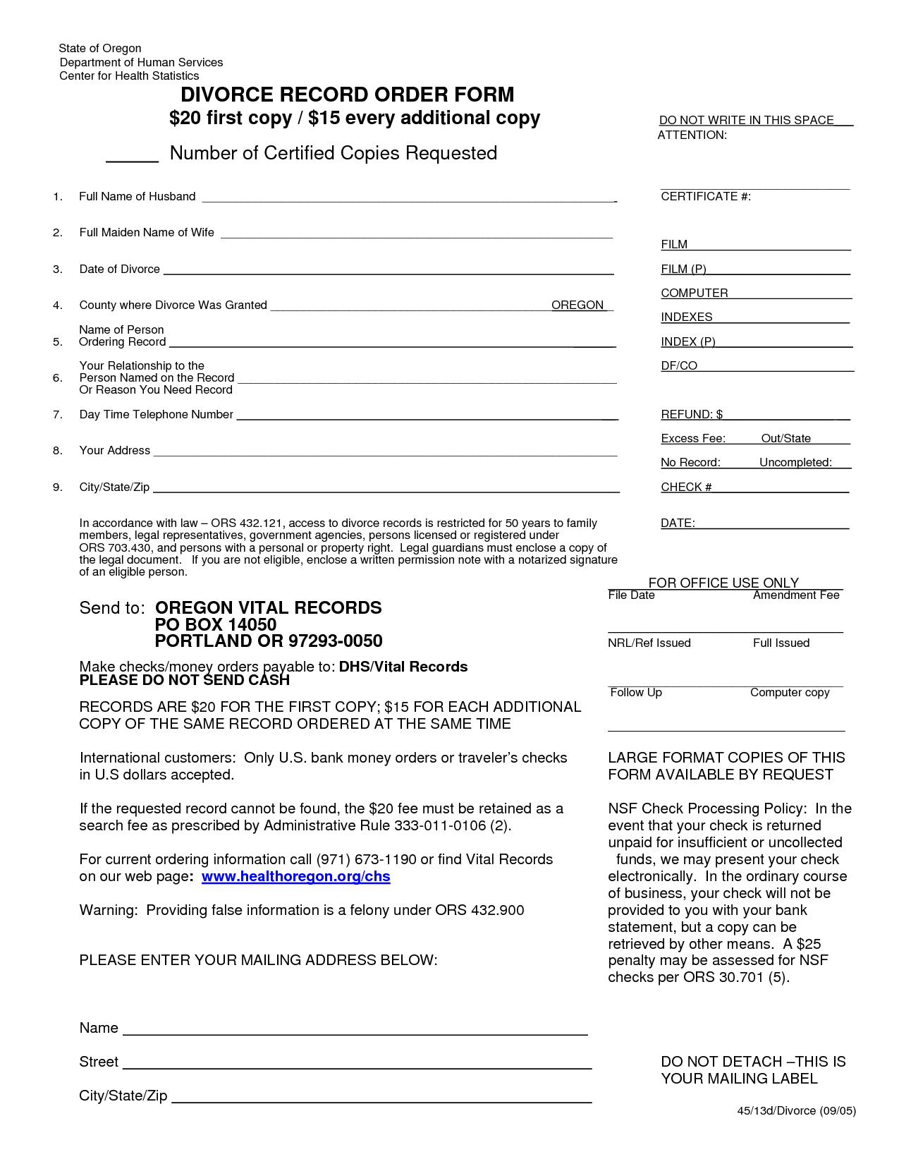 Divorce Forms Multnomah County Oregon