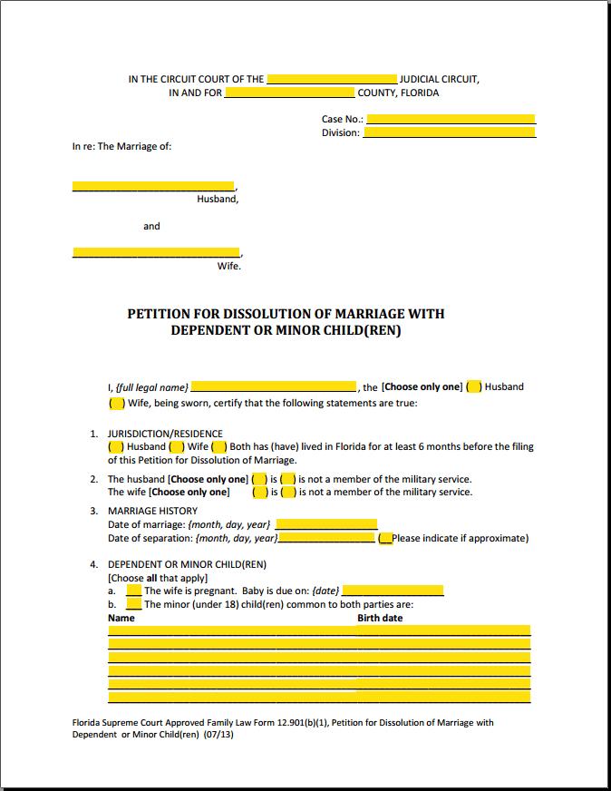 Divorce Petition Form Florida
