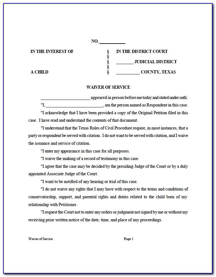 Divorce Waiver Form Florida