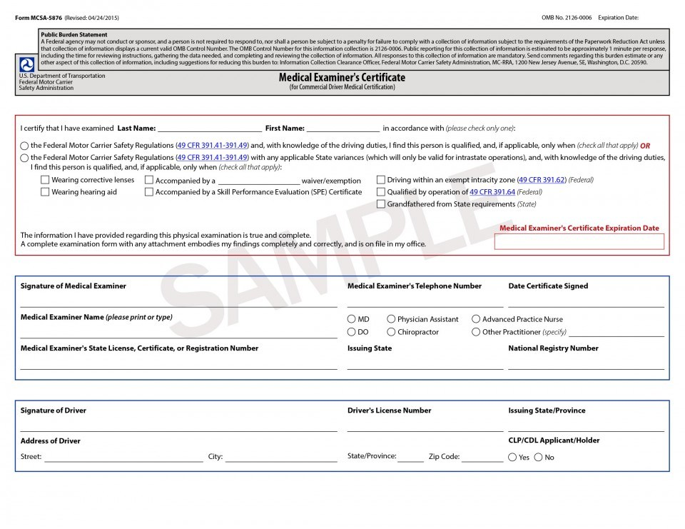 Dot Physical Exam Form Ny