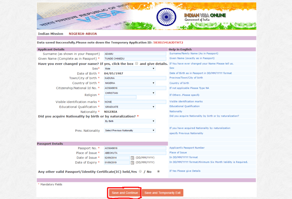 Download Indian Visa Application Form Nigeria