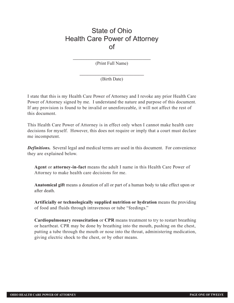 Durable Health Care Power Of Attorney Form Ohio