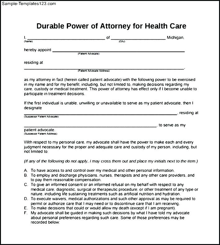 Durable Power Of Attorney For Health Care Decisions Form