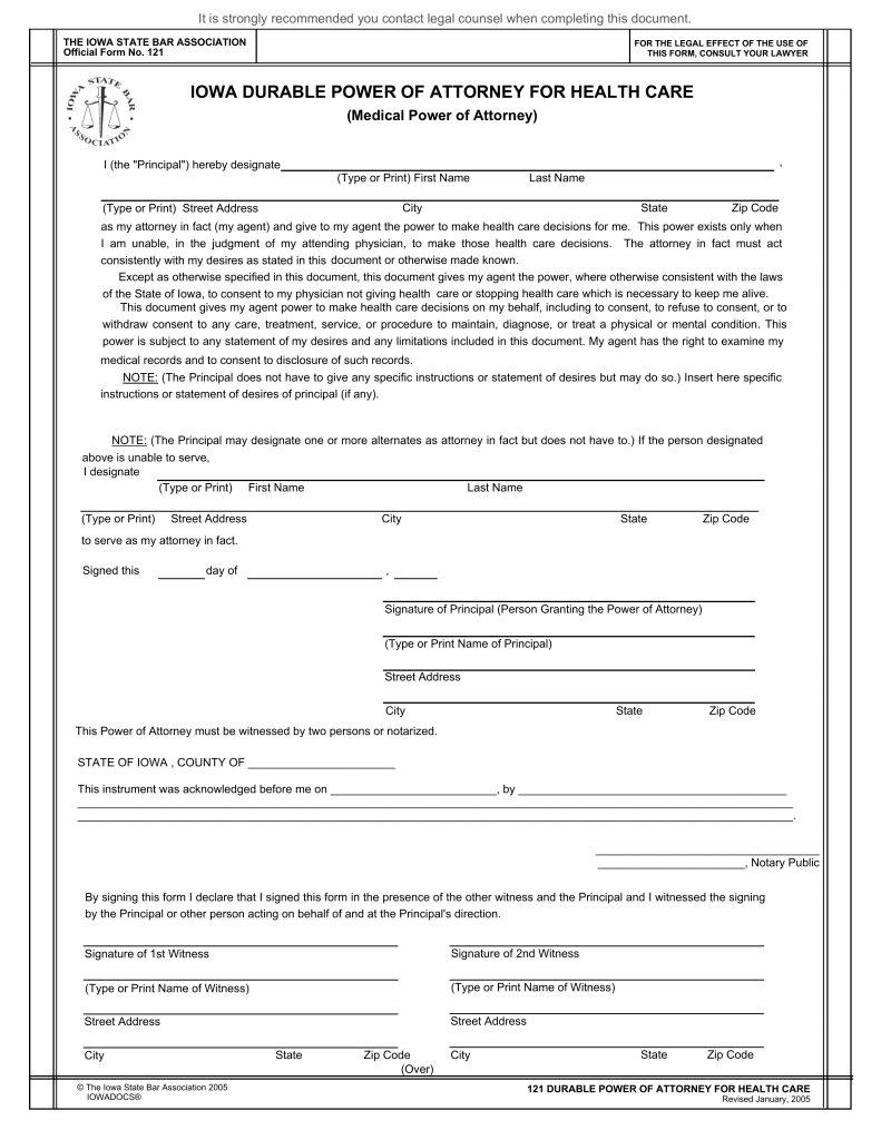 Durable Power Of Attorney For Health Care Form Iowa