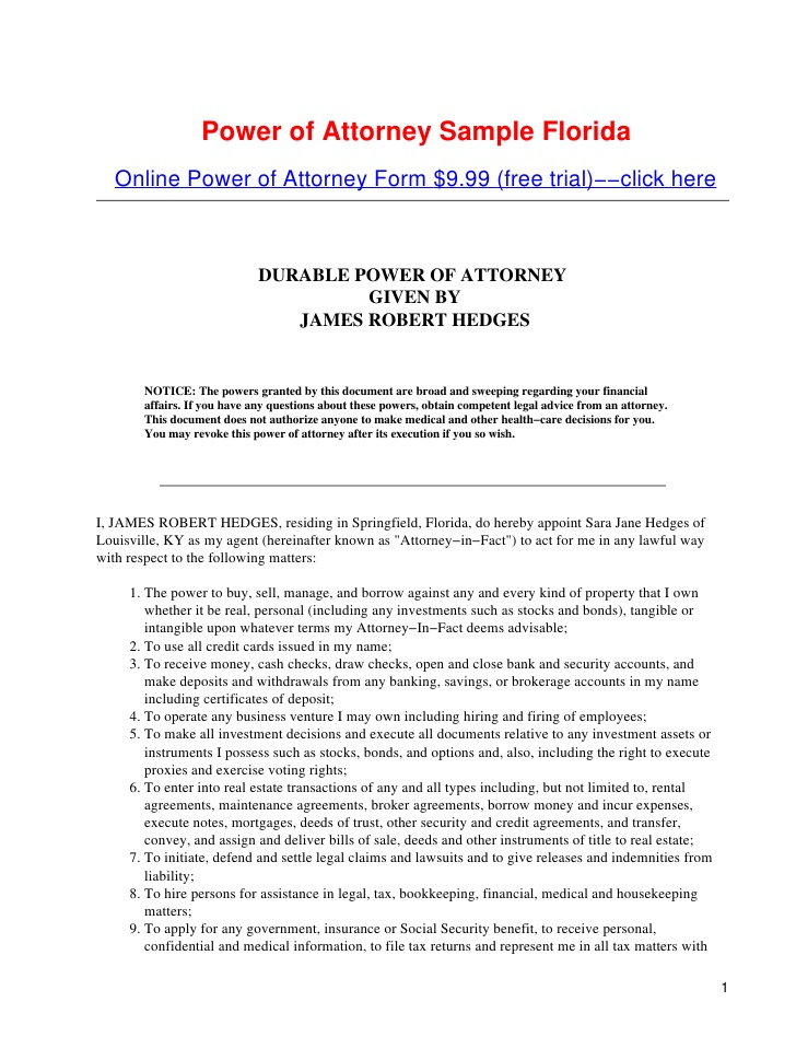 Durable Power Of Attorney For Health Care Form New York