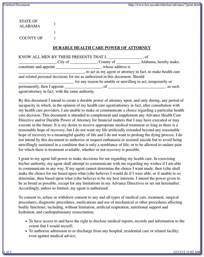 Durable Power Of Attorney For Healthcare Form Alabama