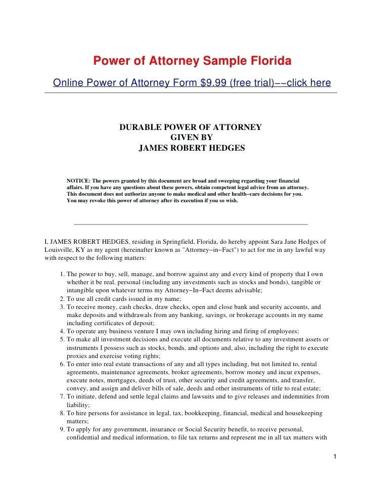 Durable Power Of Attorney Sample Pdf