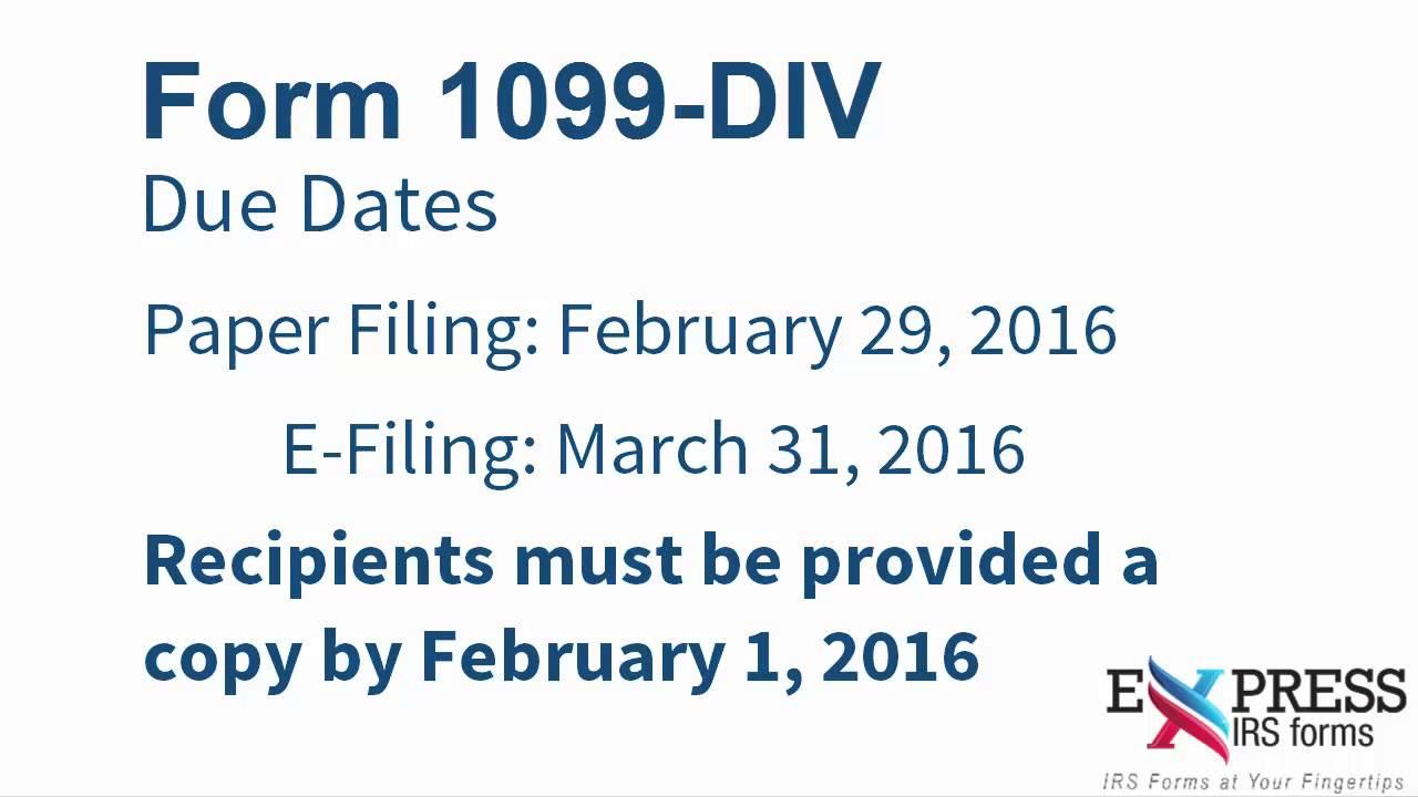 E File Form 1099 Div