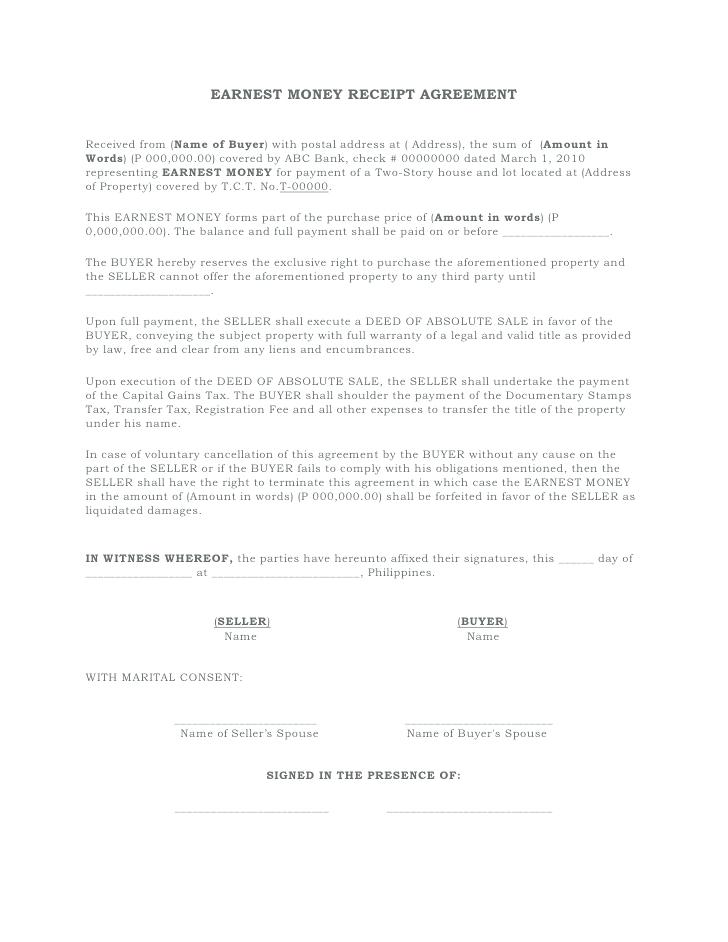 Earnest Money Agreement Form Idaho