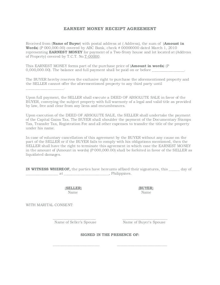 Earnest Money Agreement Form Texas