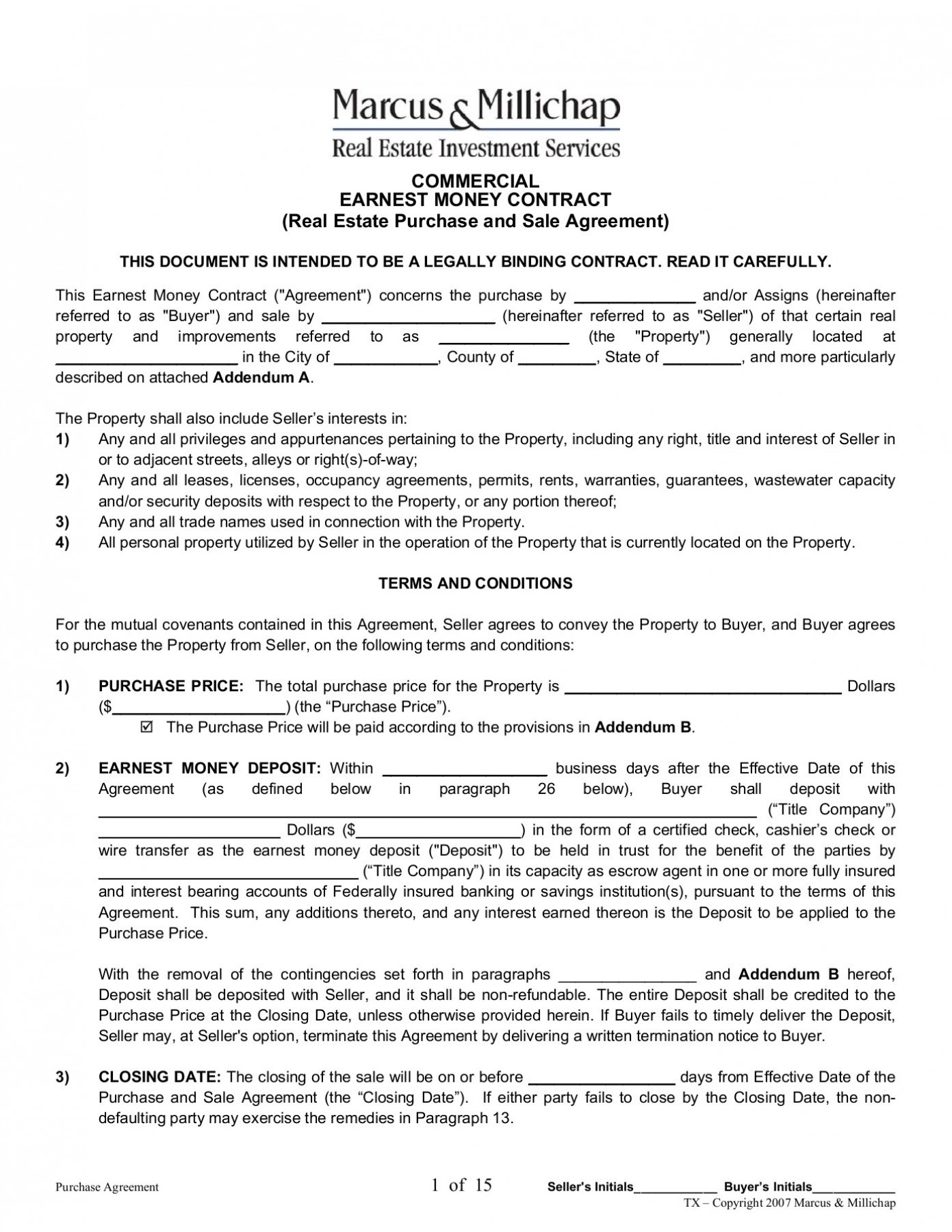 Earnest Money Agreement Form Utah
