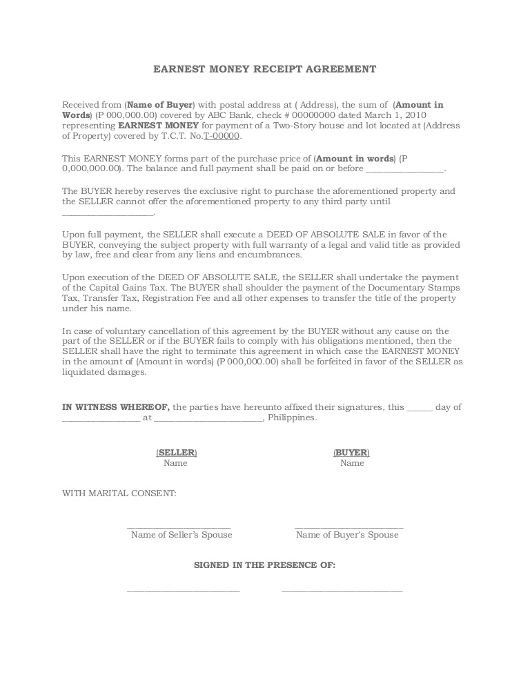 Earnest Money Agreement Form