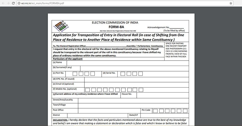 Eci Application Form Download
