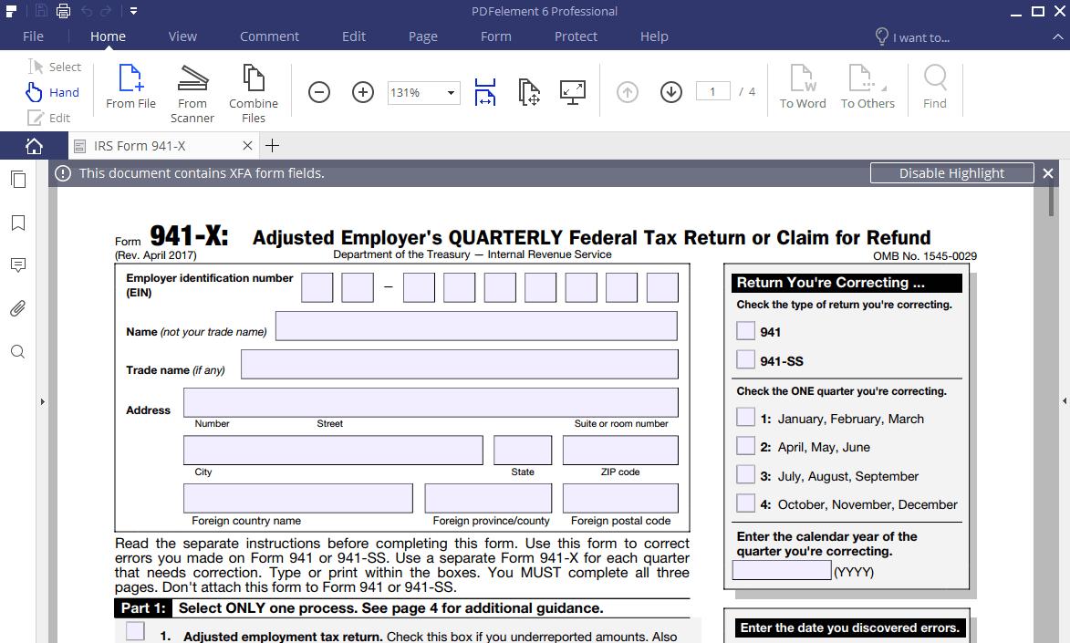 Editable Pdf Form 941