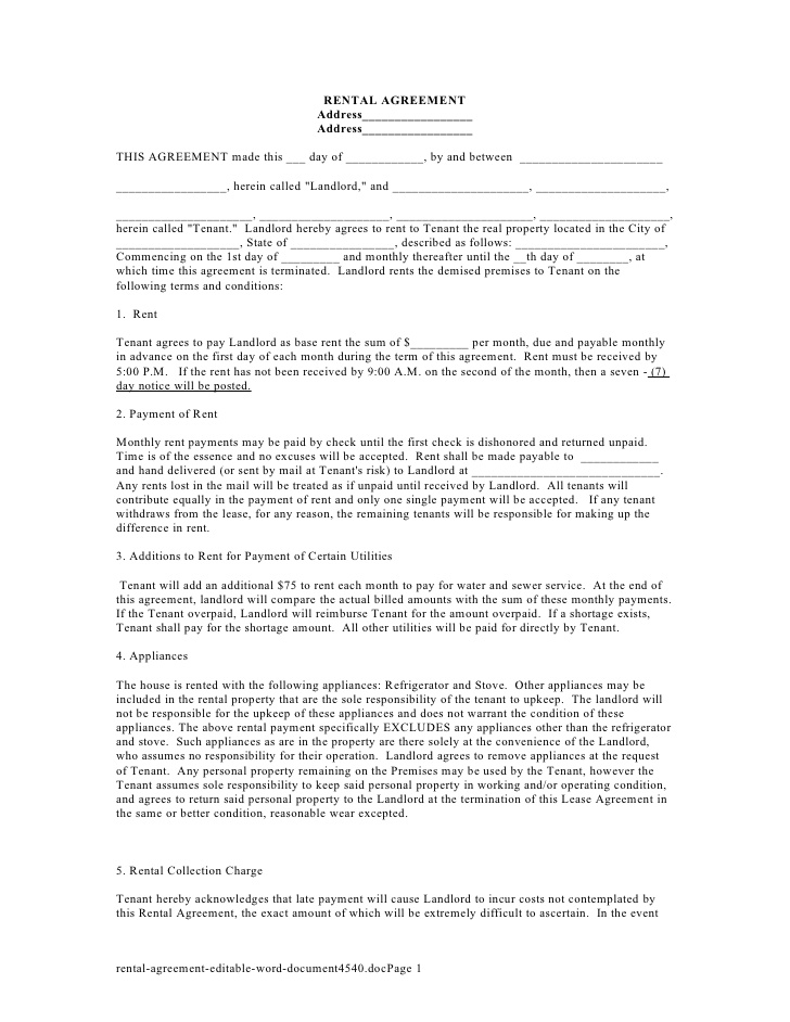 Editable Rental Agreement Format India