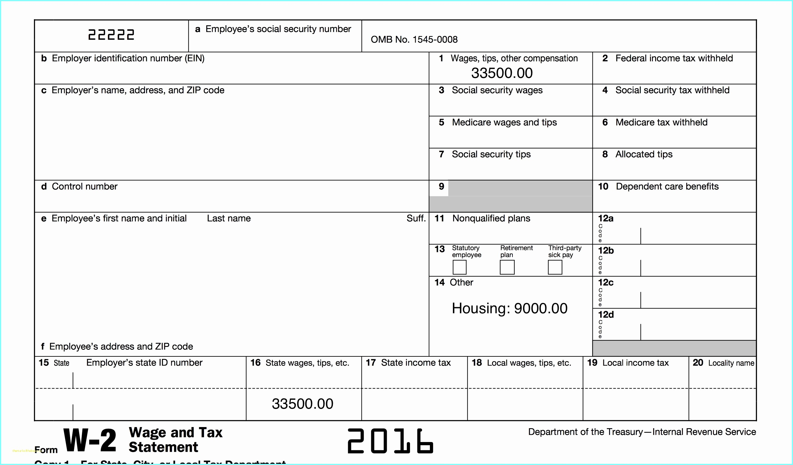 Editable W2 Form 2016