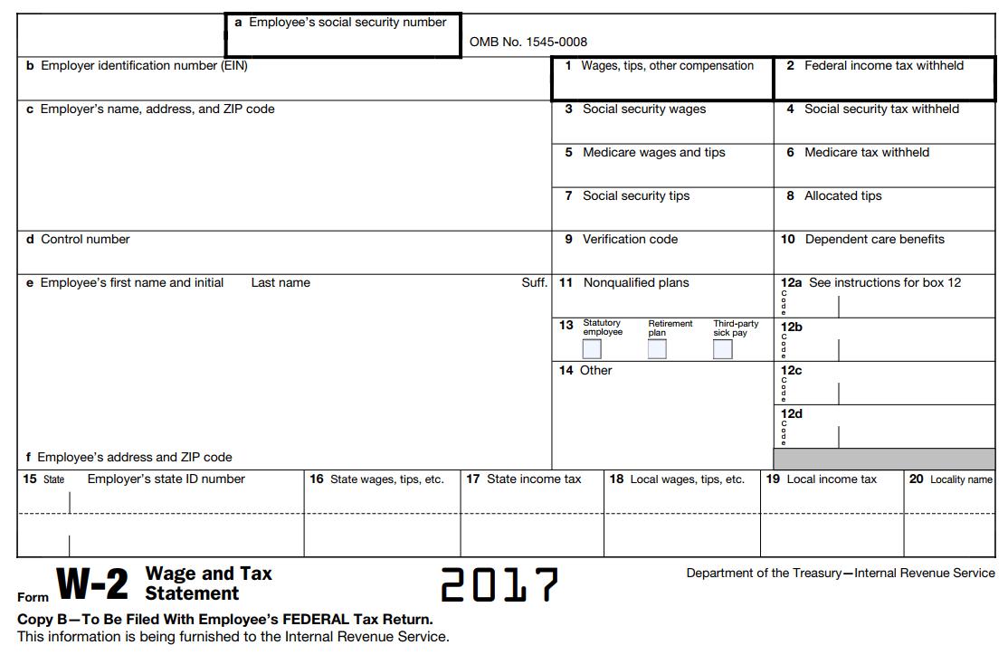 Editable W2 Form 2017