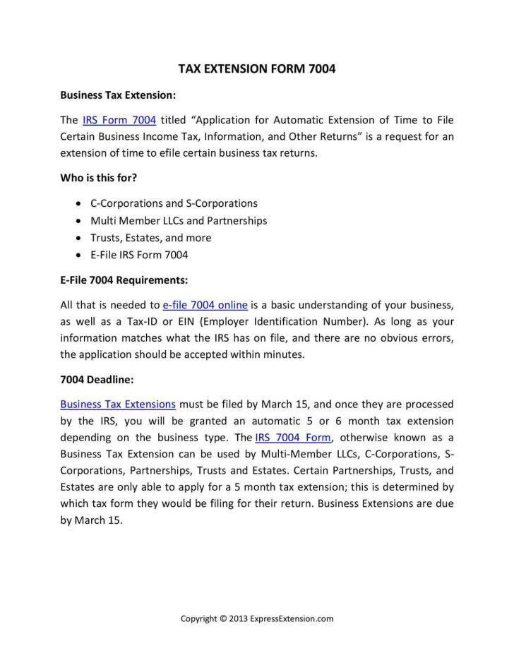 Efile Tax Form 7004
