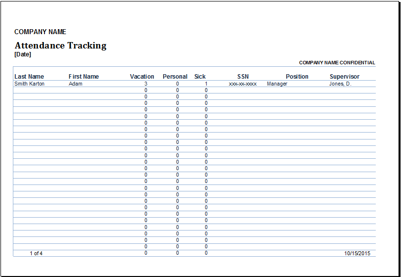 Employee Attendance Tracking Excel Sheet