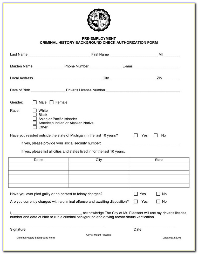 Employee Consent Form For Background Check