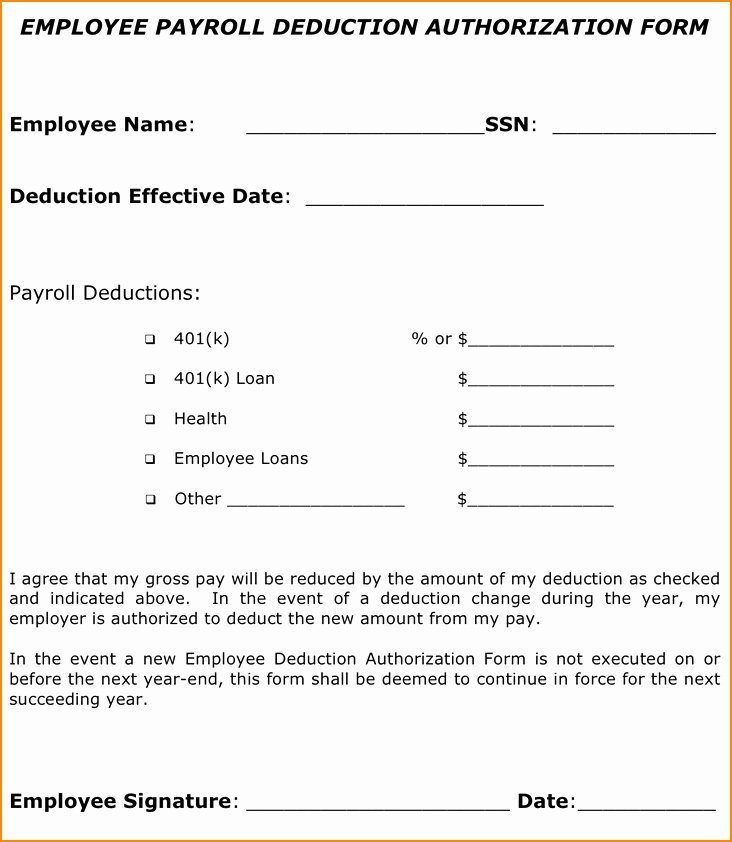 Employee Payroll Deduction Form Template