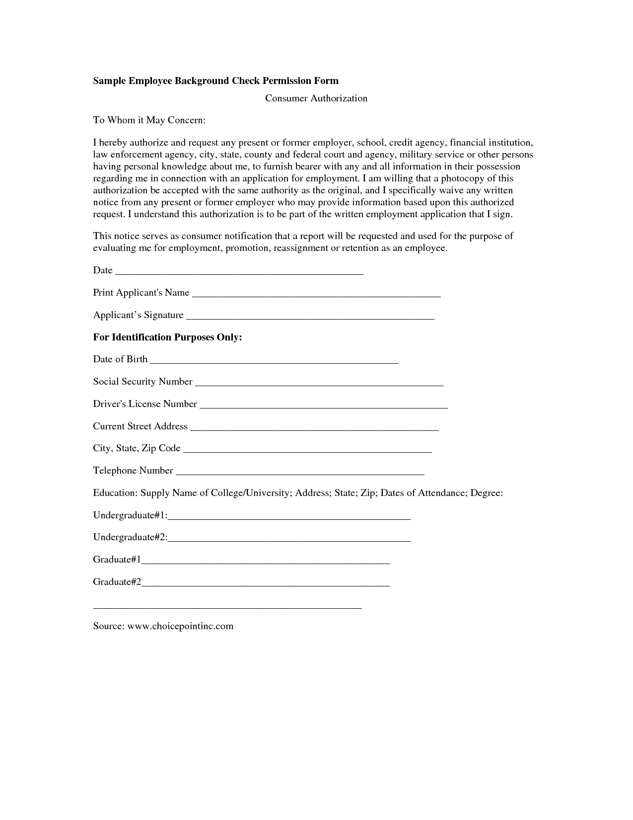 Employment Criminal Background Check Authorization Form
