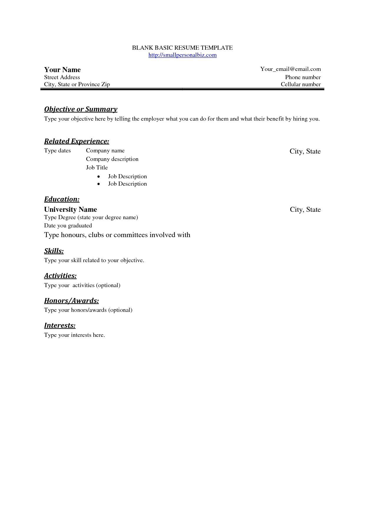 Empty Resume Format Resume Templates Pdf Template Cv Template Regarding Blank Resume Templates