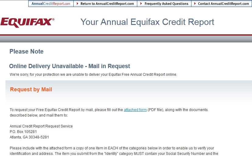 Equifax Free Annual Credit Report Request Form