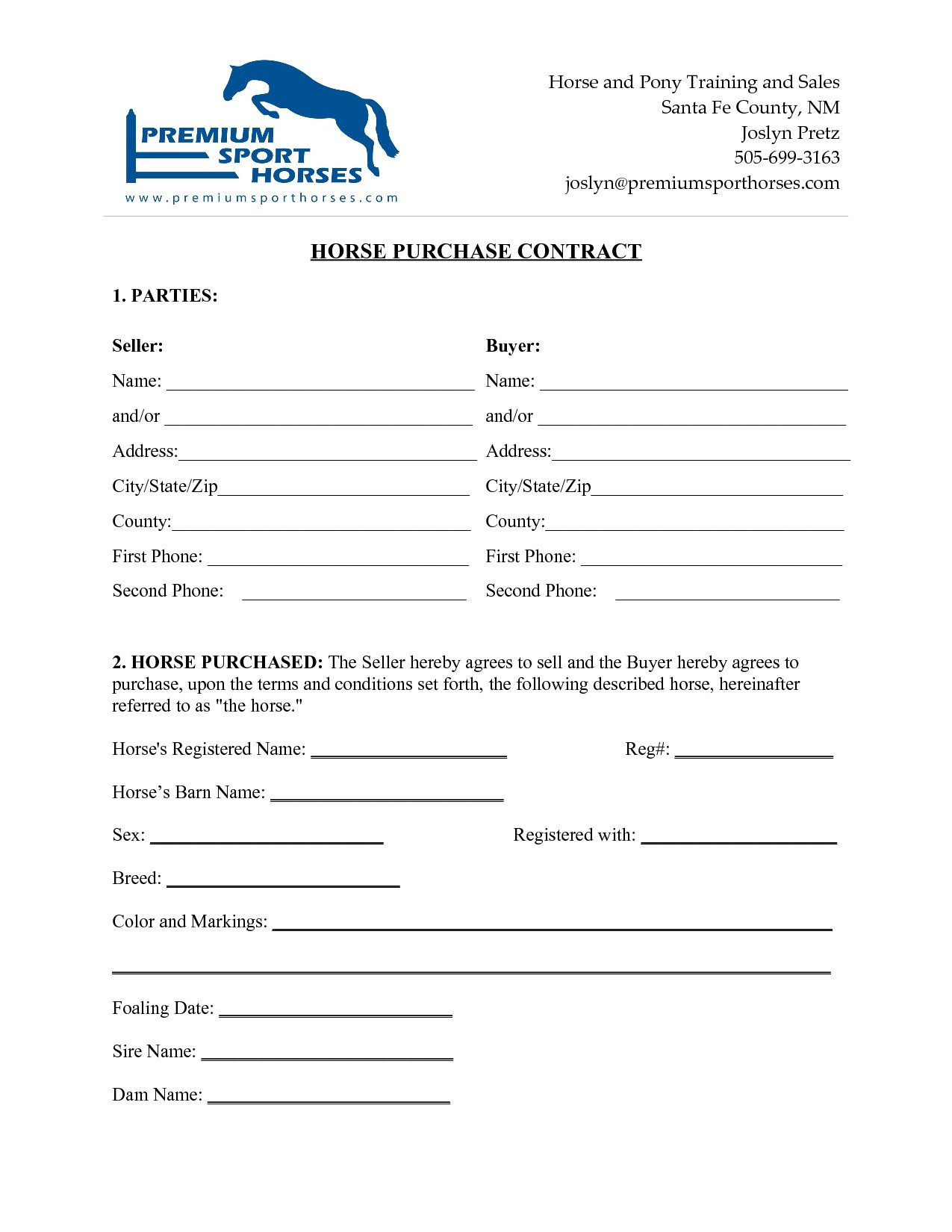 Equine Lease Agreement Contract