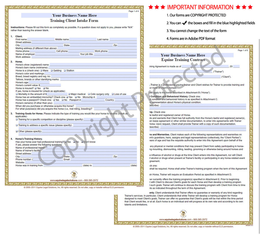 Equine Legal Solutions Forms