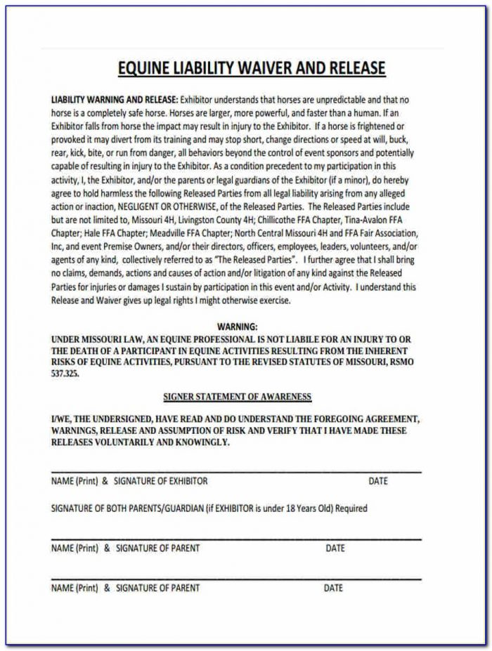 Equine Liability Release Form California