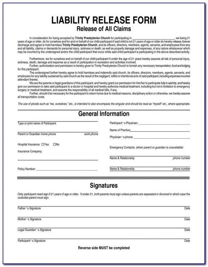 Equine Liability Release Form Free