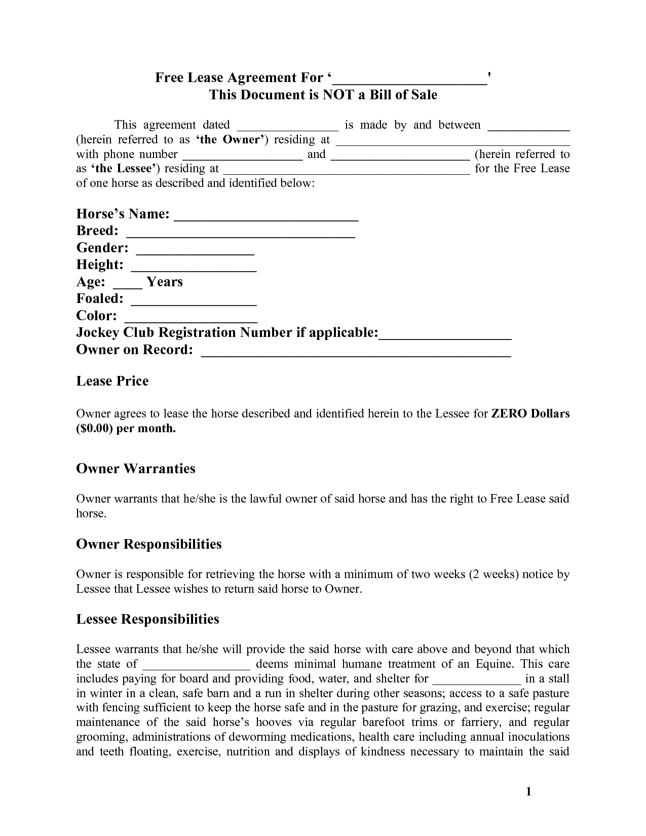 Equine Trainer Liability Release Form