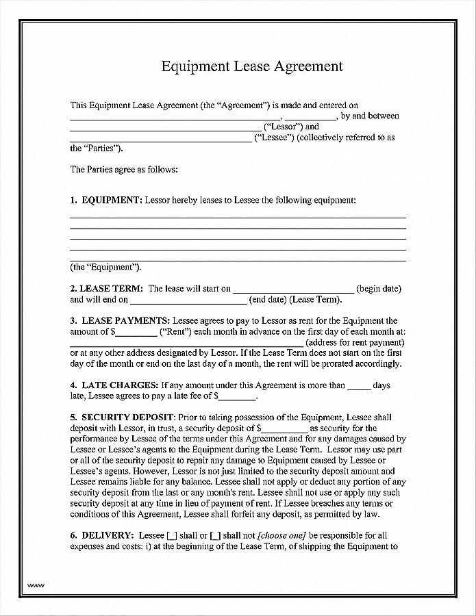 Equipment Lease Agreement Samples