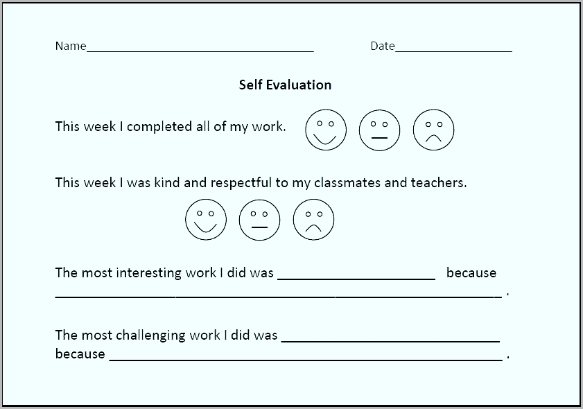 Teacher Self Evaluation Form New Self Evaluation Form For Lower Elementary Students Activity Template Waeua