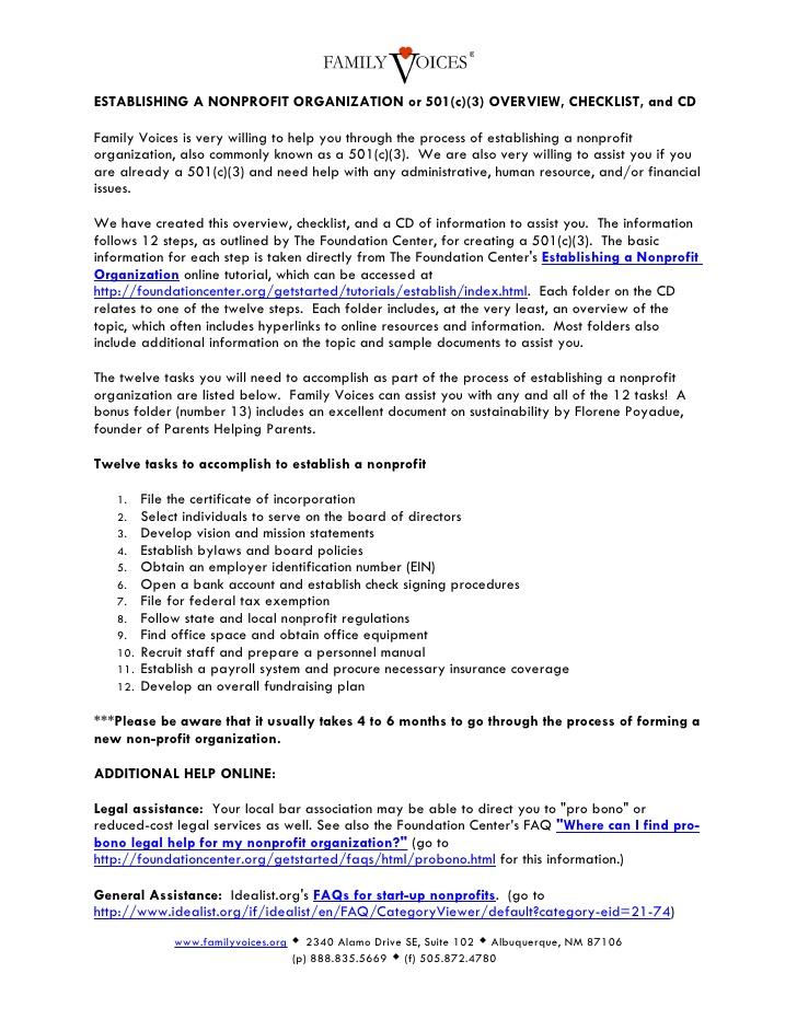 Establishing A Nonprofit Organization