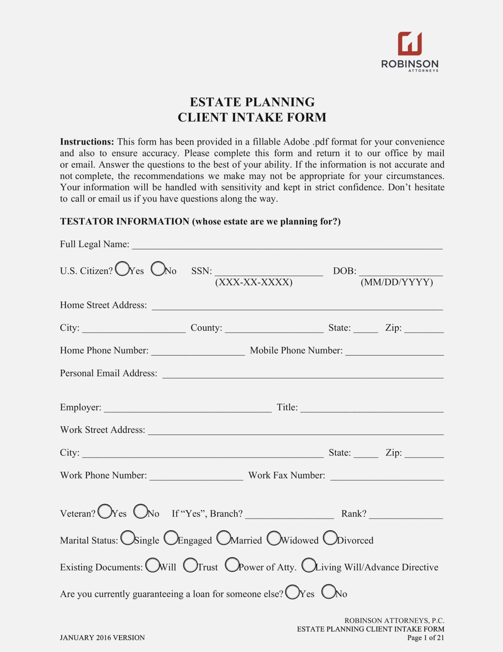 Estate Planning Intake Forms