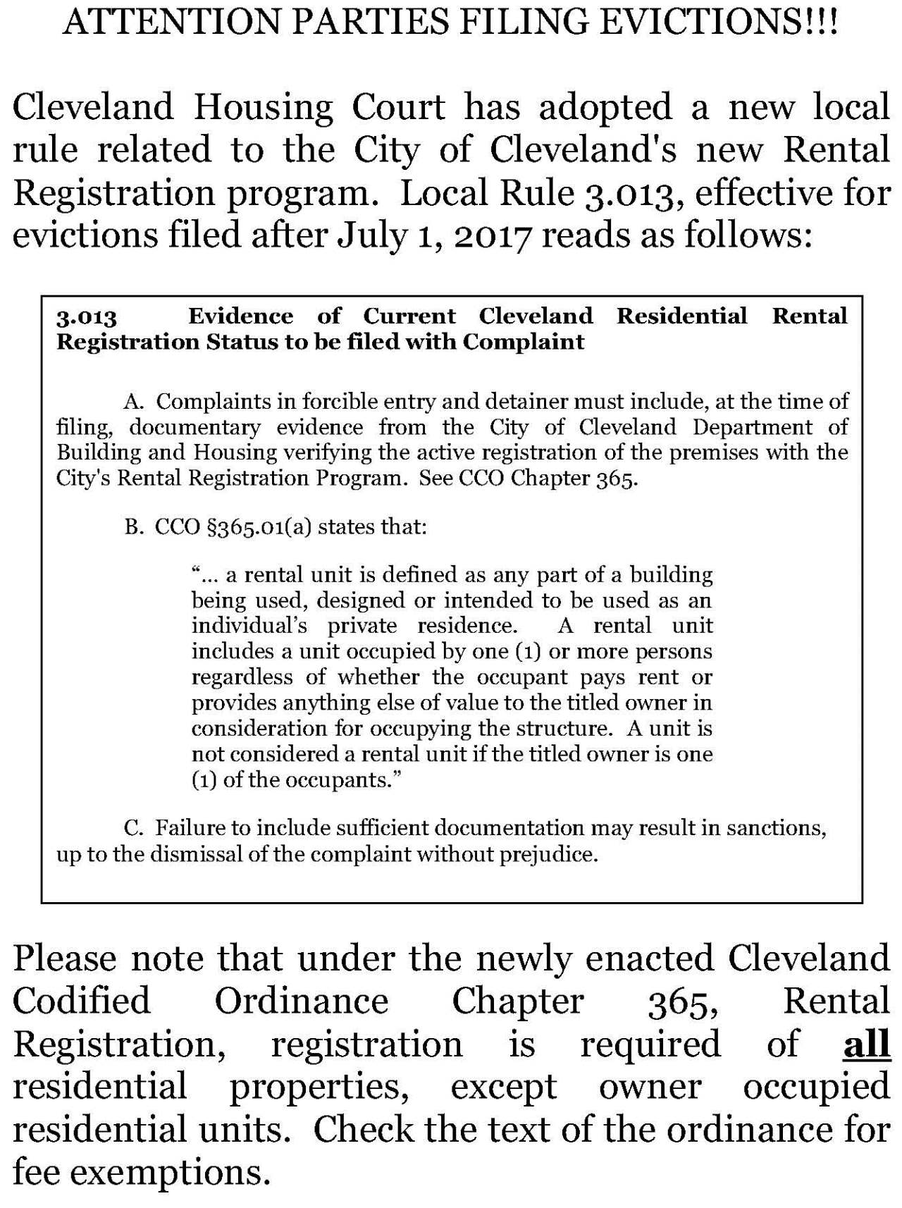 Eviction Complaint Form Cleveland Ohio