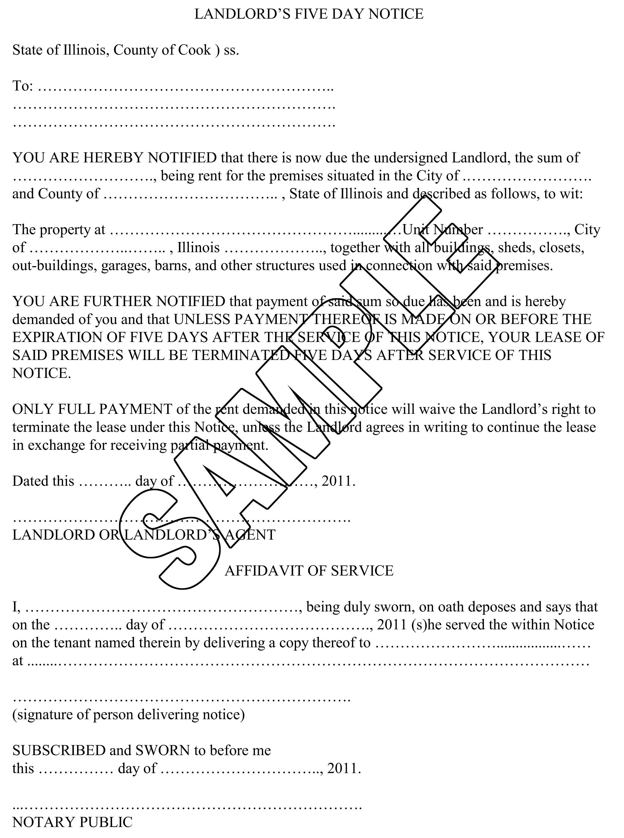Eviction Complaint Form Cook County