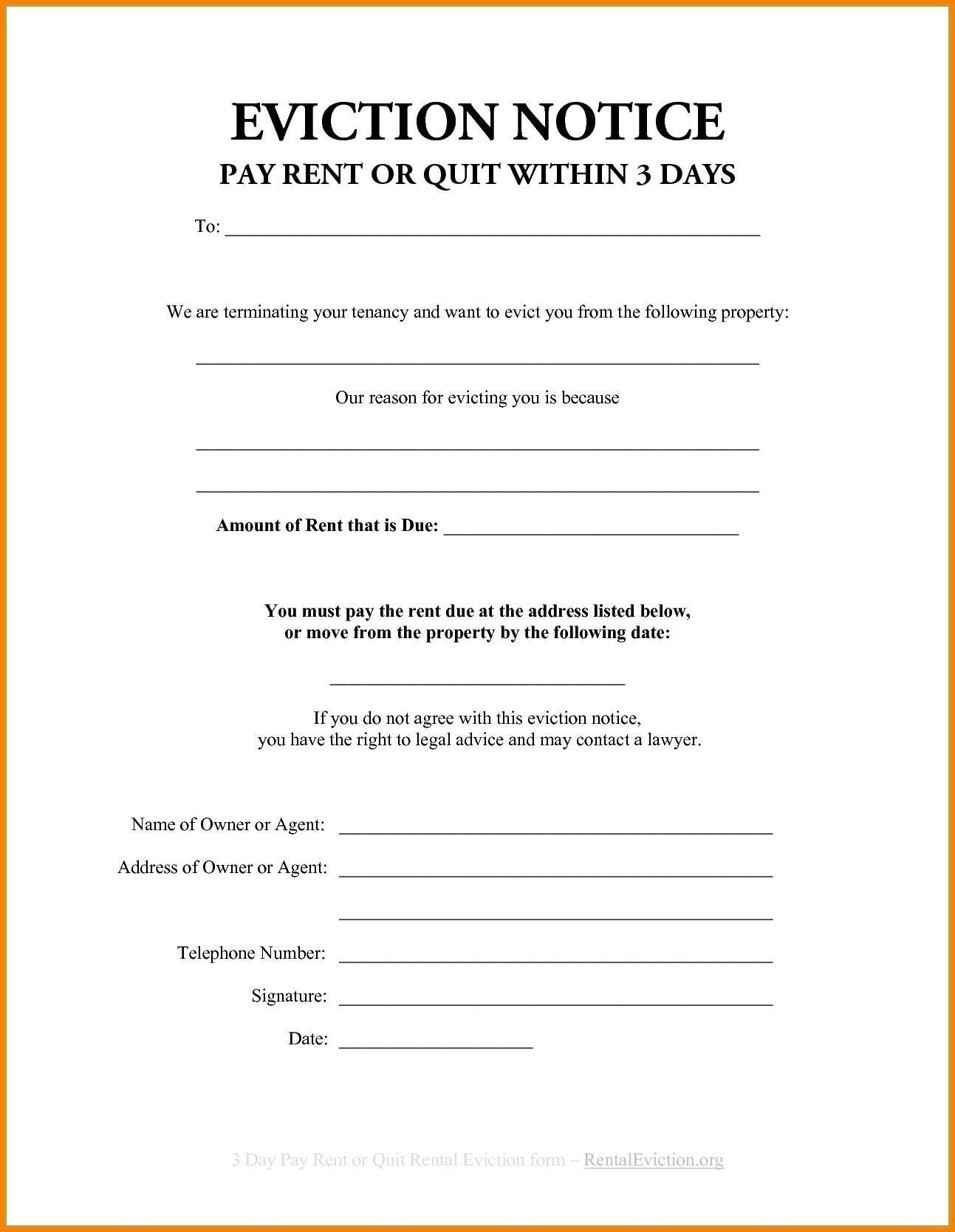 Eviction Notice Forms Unique Free Eviction Notice Template