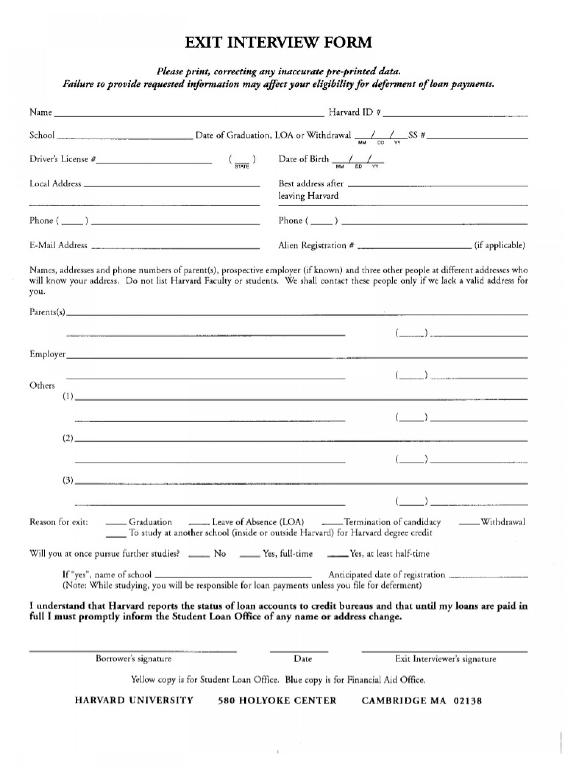 Exit Interview Form Citehr