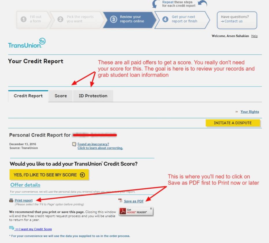 Experian Credit Report Postal Form
