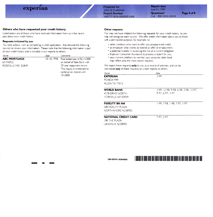 Experian Credit Report Request Form