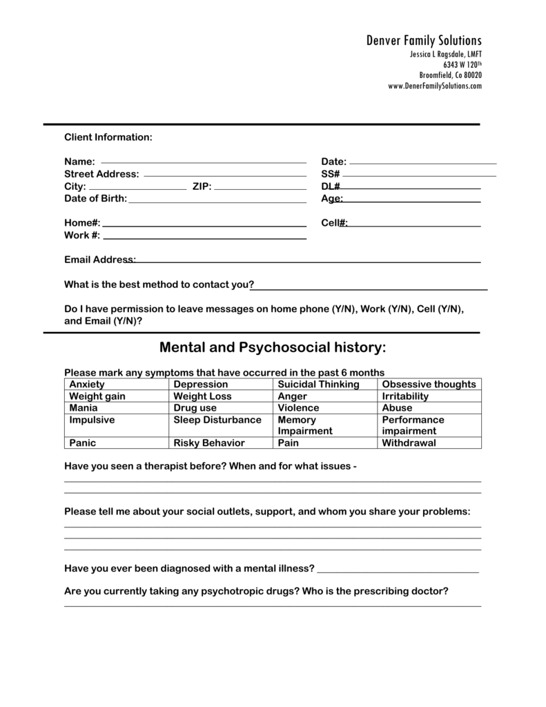 Family Therapy Intake Forms