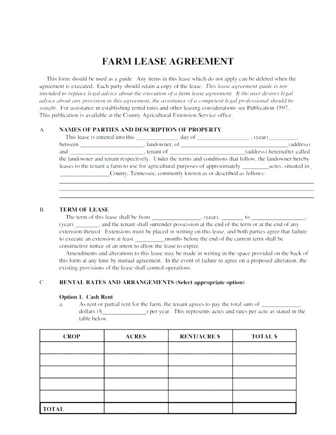 Farm Lease Template Australia