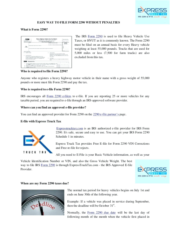 Federal Heavy Use Tax Form 2290